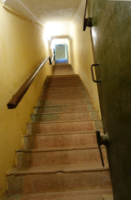 Steep stairs in the underground war bunker at Building D67, Hanoi, Vietnam