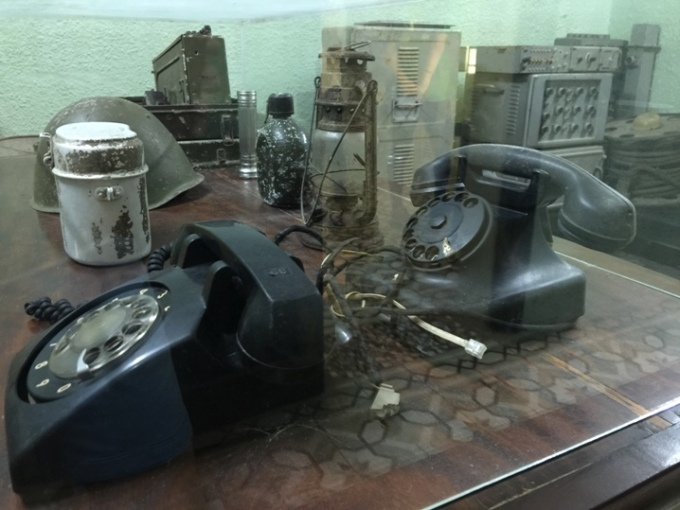 Historic artefacts from the Vietnam War, the underground war bunker at Building D67, Hanoi, Vietnam