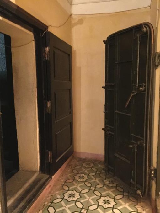 The heavy doors of the underground war bunker at Building D67, Hanoi, Vietnam