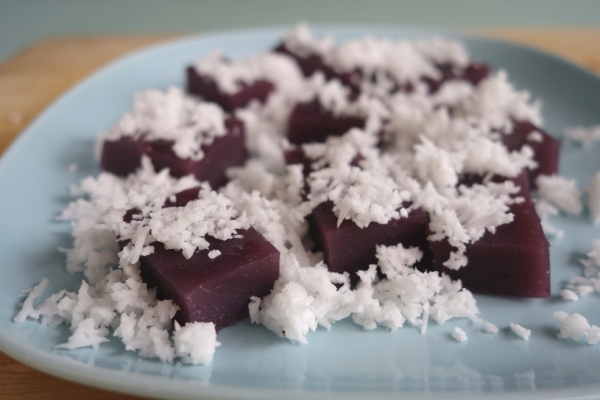 Sweet potato kueh ubi talam purple